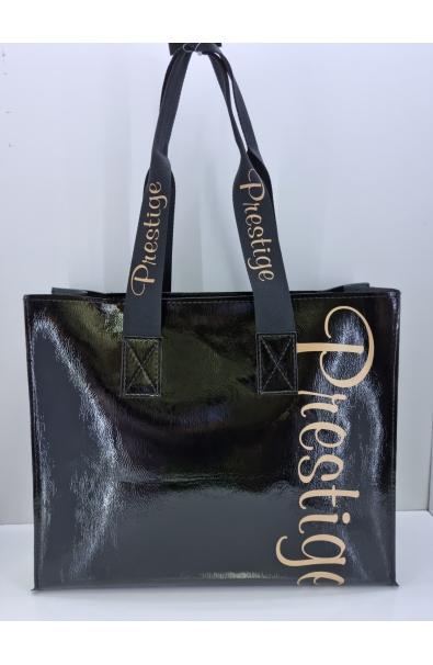 Čierna kabelka na plece Prestige