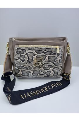 Béžová štýlová crossbody kabelka Massimo Contti