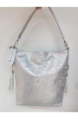 Metalická strieborna kabelka na plece Via55